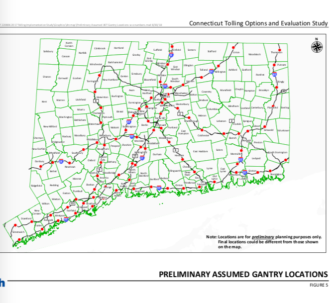 New CTDOT Study Calls for 82 Tolling Gantries on Connecticut