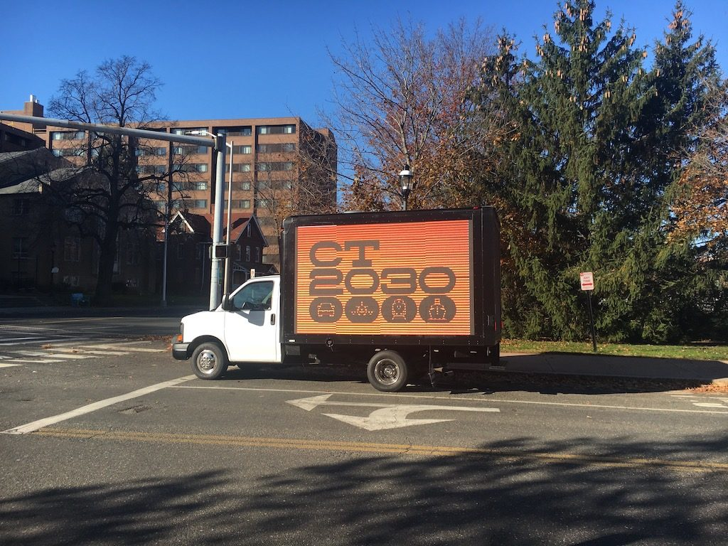 Truck advertising CT2030 outside the Capitol paid for by labor union