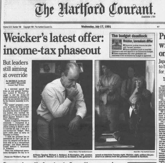 "Temporary income tax ""myth"" has roots in Weicker's pitch to lawmakers, public"